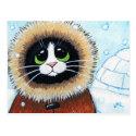 Eskimo Cat and Igloo | Animal Art Postcard