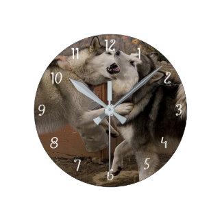 Eskimo Dogs Eskimo Dogs Round Clock
