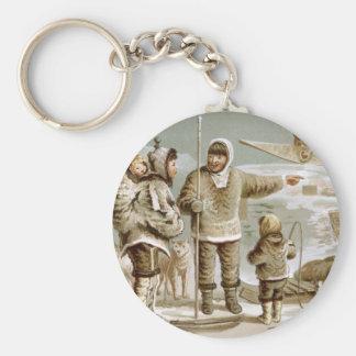Eskimo Family Basic Round Button Keychain