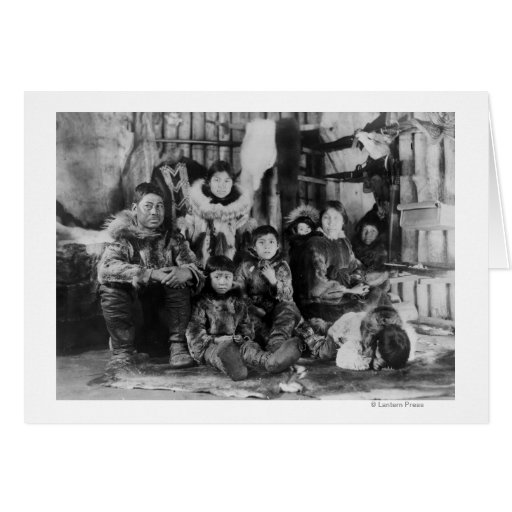 Eskimo Family in Winter Igloo Photograph Greeting Card