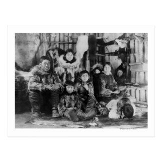 Eskimo Family in Winter Igloo Photograph Postcard