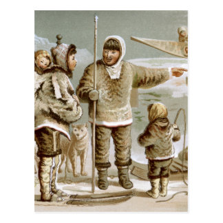 Eskimo Family Postcard