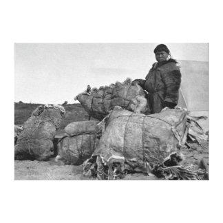 Eskimo Fur Dealer in Nome, Alaska Photograph Canvas Print