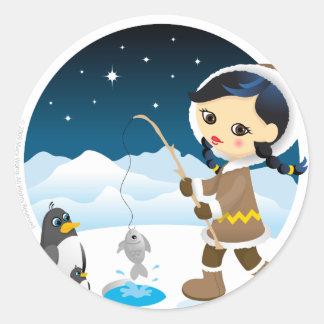 Eskimo girl classic round sticker