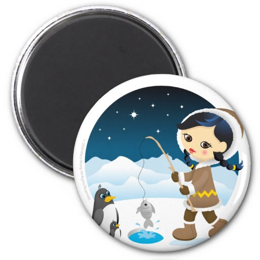 Eskimo girl fridge magnet