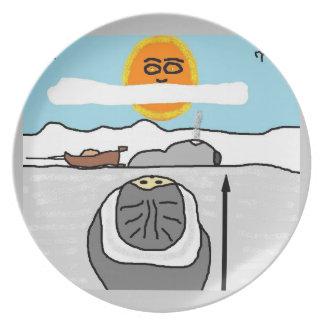 eskimo hunter melamine plate