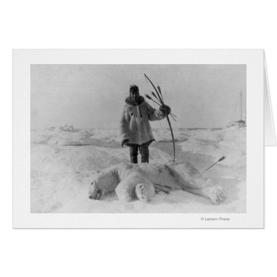 Eskimo Hunter with Polar Bear Photograph Card
