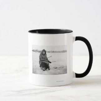Eskimo Ice Fishing in Nome, Alaska Photograph Mug