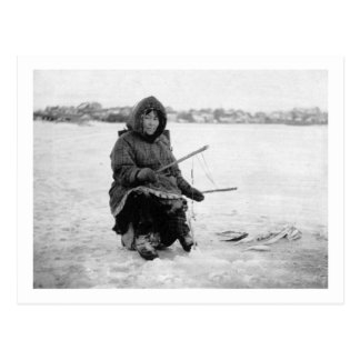 Eskimo Ice Fishing in Nome, Alaska Photograph Postcard