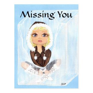 Eskimo in Ice Quantum Cutie Missing You Postcard