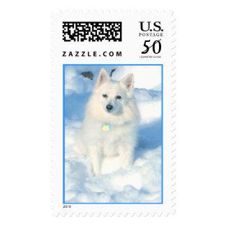 Eskimo in snow postage