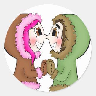 eskimo kisses classic round sticker