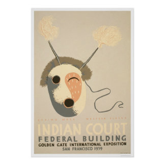 Eskimo Mask Golden Gate 1939 WPA Poster