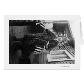 Eskimo Medicine Man and Sick Boy in Alaska Greeting Card