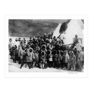 Eskimo School Children in Alaska Photograph Postcard