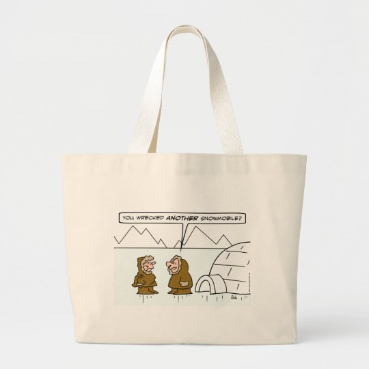 eskimo wife wrecked another snowmobile large tote bag