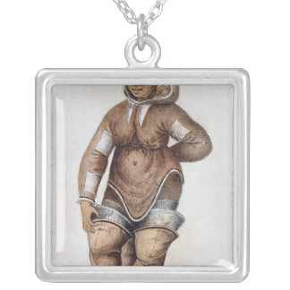 Eskimo  Woman and Baby Silver Plated Necklace