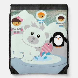Eskimos and Polar Bear Drawstring Backpack Bag
