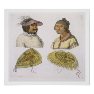 Eskimos from North America (colour engraving) Poster