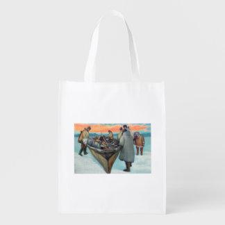 Eskimos Launching Whaling Boat Reusable Grocery Bag