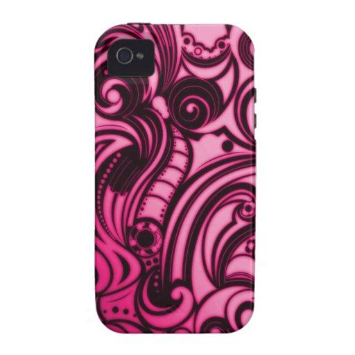Eslabones giratorios rosados y negros de Bella iPhone 4/4S Carcasa