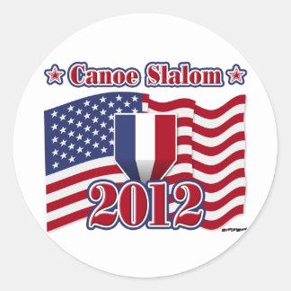 Eslalom de 2012 canoas pegatina redonda