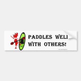 Eslalom de la canoa - paletas bien con otras pegatina de parachoque