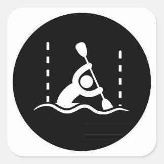Eslalom de la canoa calcomania cuadradas personalizadas