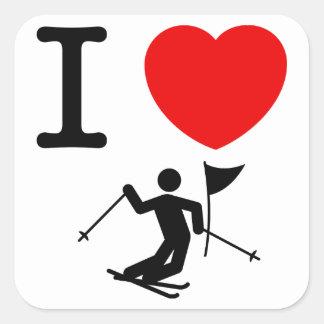 Eslalom del esquí calcomanías cuadradas