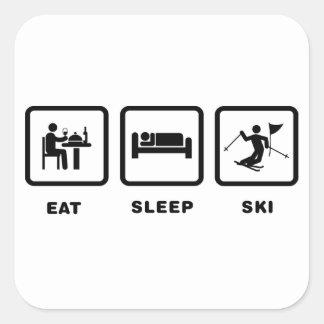Eslalom del esquí calcomanía cuadrada
