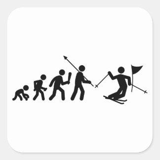 Eslalom del esquí calcomanías cuadradas personalizadas