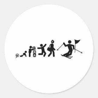 Eslalom del esquí etiquetas redondas