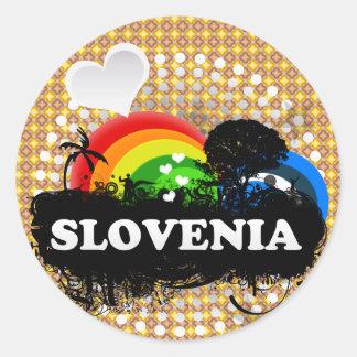 Eslovenia con sabor a fruta linda pegatina redonda