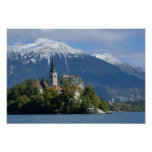 Eslovenia, sangrada, lago sangrado, isla sangrada, poster