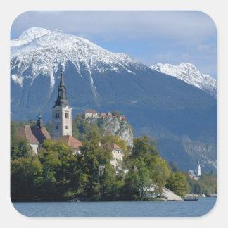 Eslovenia, sangrada, lago sangrado, isla sangrada, calcomanía cuadradas personalizada
