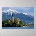 Eslovenia, sangrada, lago sangrado, isla sangrada, póster
