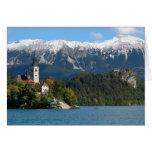 Eslovenia, sangrada, lago sangrado, isla sangrada, tarjeta de felicitación