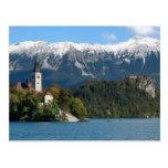 Eslovenia, sangrada, lago sangrado, isla sangrada, tarjeta postal