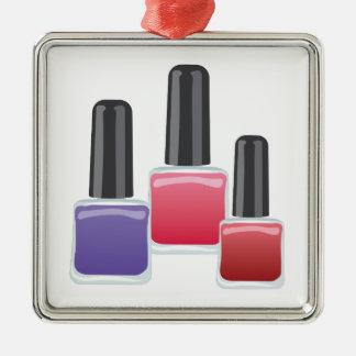 Esmalte de uñas adorno navideño cuadrado de metal