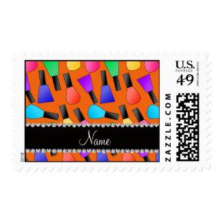 Esmalte de uñas anaranjado conocido personalizado franqueo