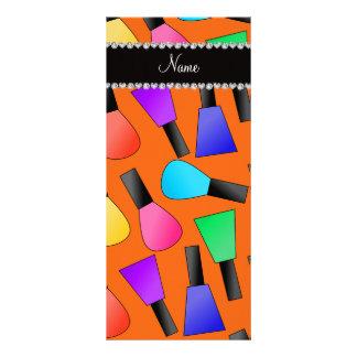 Esmalte de uñas anaranjado conocido personalizado tarjeta publicitaria a todo color