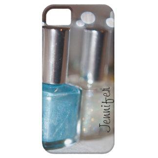 Esmalte de uñas azul adaptable iPhone 5 fundas
