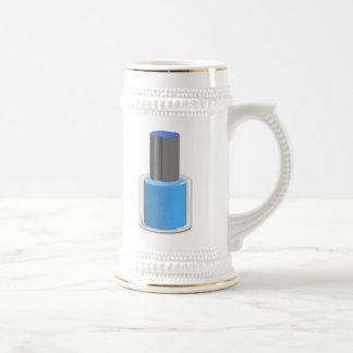Esmalte de uñas azul jarra de cerveza