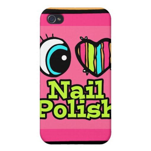 Esmalte de uñas brillante del amor del corazón I d iPhone 4 Cobertura