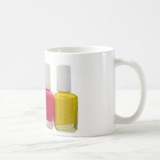 Esmalte de uñas de neón tazas de café
