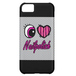 Esmalte de uñas del amor del corazón I del ojo de  Funda Para iPhone 5C
