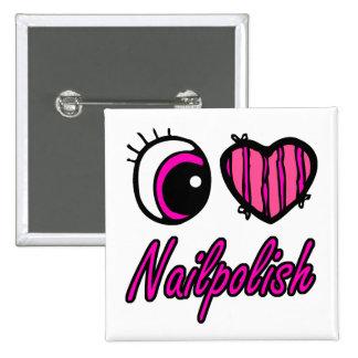 Esmalte de uñas del amor del corazón I del ojo de  Pin Cuadrada 5 Cm