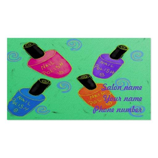 Esmalte de uñas enrrollado tarjetas de visita