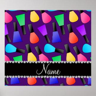 Esmalte de uñas púrpura conocido personalizado del póster