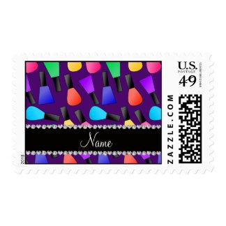 Esmalte de uñas púrpura conocido personalizado del envio
